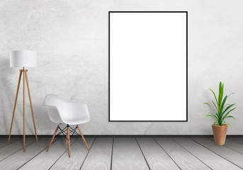 White poster frame mock up hanging on wall. Free space for design and text. Scene with lamp, chair and plant.