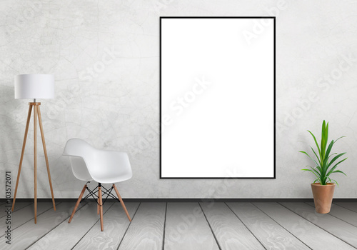 White poster frame mock up hanging on wall. Free space for design ...