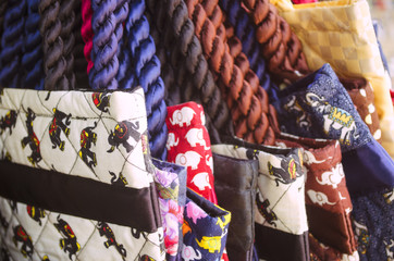 Colorful textile bags with elephant print