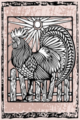 Rooster in woodcut ethnic style