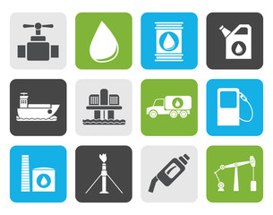 Flat oil and petrol industry objects icons - vector icon set