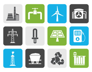 Flat Power and electricity industry icons - vector icon set