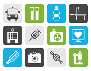 Flat Medicine and healthcare icons - vector icon set