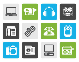 Flat electronics, media and technical equipment icons - vector icon set