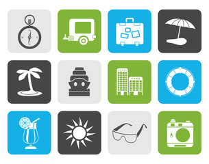 Flat Travel, Holiday and Trip Icons -  Vector Icon Set