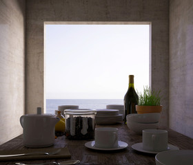 3d rendering. Bottle of wine on the wooden table