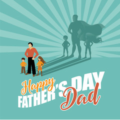 Happy Father's Day superhero dad and kids. EPS 10 vector.