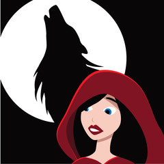 Little Red Riding Hood and the wolf. EPS 10 vector.