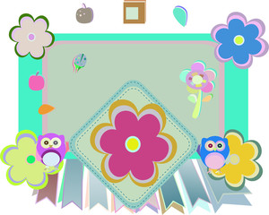 vector Background with owl, flowers and birds