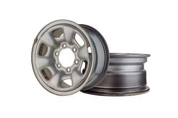 Two Car wheel, Car alloy rim on white background, Wheel isolated on white