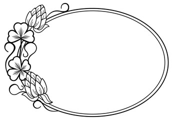 Oval outline label with clovers and free space for your text