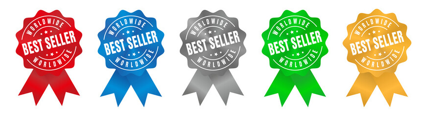 Vector Worldwide Best Seller Badge Ribbon