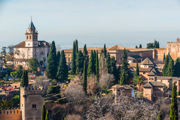 The panorama of Alhambra and the town from Generalife gardens. Granada. Spain