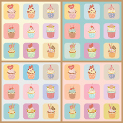 Vector of the cupcakes in the boxes for pattern with four background colors.