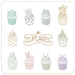 Drawing colors line vector of the nine cupcakes.
