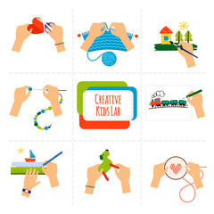 Creative kids hands icons. Pictures of kids hands painting, knitting, drawing and cross stiching. Vector illustration