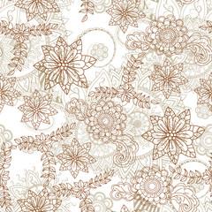Doodles flower seamless pattern