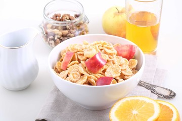 Corn and rice flakes with a fresh apple, Muesli with Apple slice