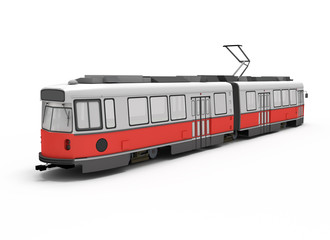 isolated red electric tram.