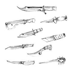 hand drawn knifes. vector illustration