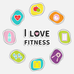 I love fitness icon set isolated. Round frame. Timer, whater, dumbbell, apple, jumping rope, scale, note heart. Flat design