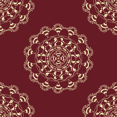 seamless decorative background, seamless ethnic background.   background in ethnic style, Indian ornament, circular background  in ethnic style