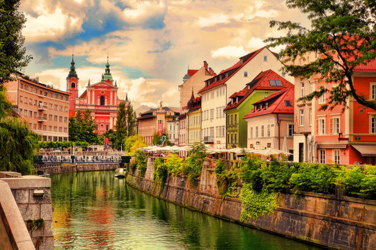 Lovely view of embankment in Ljubljana