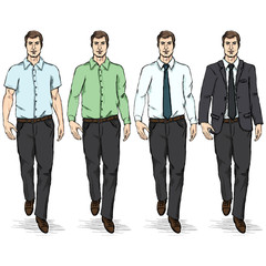 Vector Set of Color Sketch Men Models.  Business Dress Code