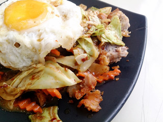 Stir Fried Chicken with Roasted Chili Paste with mixed vegetables, Fried egg & Thai jasmine rice