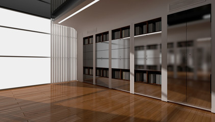 3d rendering interior. Blank interior with white walls, oak floor. fitted wardrobe