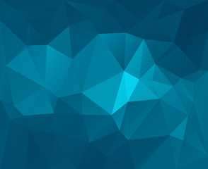 Polygonal mosaic abstract geometry background landscape in blue