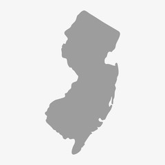 Map of New Jersey State in gray on a white background