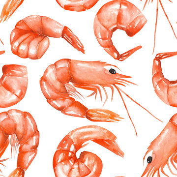 A seamless pattern with the isolated watercolor shrimps, hand-drawn on a white background