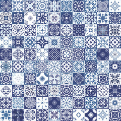 Gorgeous floral patchwork design. Moroccan or Mediterranean square tiles, tribal ornaments. For wallpaper print, pattern fills, web page background, surface textures. Indigo blue white teal aqua