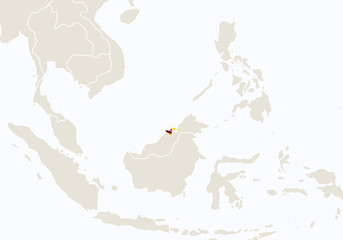 Asia with highlighted Brunei map.