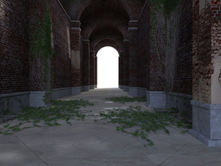 3d rendering. old brick tunnel with ivy leaves