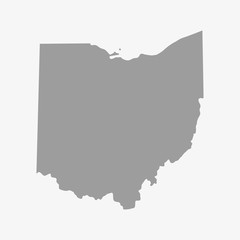 Map the State of Ohio in gray on a white background