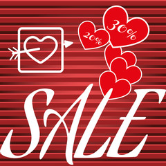 Happy Valentine's Day Sale Banner. White Heart with Arrow Silhouette, Red Hearts and White Promotional Text on Black and Red Stripes Backdrop. Sale Message Digital vector percentage discount banner.