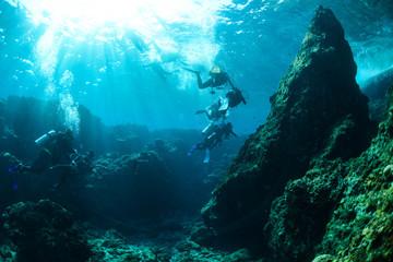 Foto op Canvas Duiken Okinawa Scuba Diving