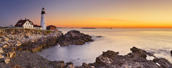 Photo sur Aluminium Phare Portland Head Lighthouse, Maine, USA at sunrise