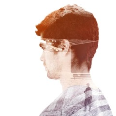 Composite image of side view of serious man