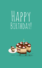Happy birthday card. Funny birthday chocolate cake with cherries. Vector illustration.