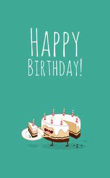 Happy birthday card. Funny birthday chocolate cake with candles. Vector illustration.