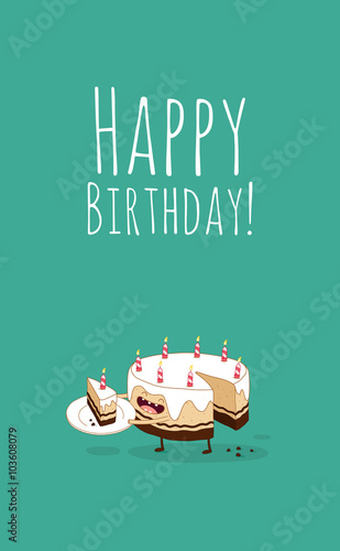 Quot Happy Birthday Card Funny Birthday Chocolate Cake With