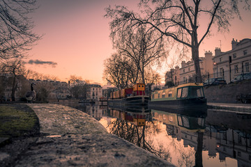 Atmospheric shot at sunset of Little Venice in Regent's Canal, London