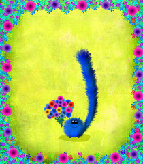 Blue Kitten With Flowers Floral Frame