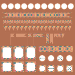 Printable tribal set of vintage boho party elements.
