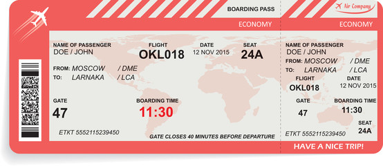 Vector illustration of airline boarding pass
