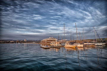 Yachts and boats in the harbor. Black sea, Bulgaria .