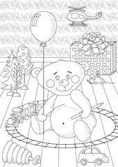 Coloring book for children and adults. Coloring page with toys